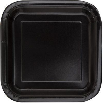 Midnight Black 22cm Square Plates & Black 22cm Square Plates