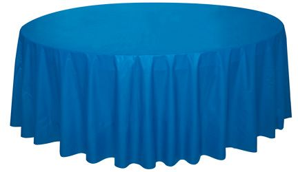 Royal Blue Round Plastic Tablecloth