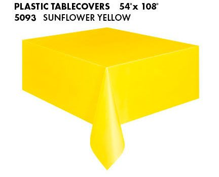 Sunflower Yellow Plastic Tablecloth