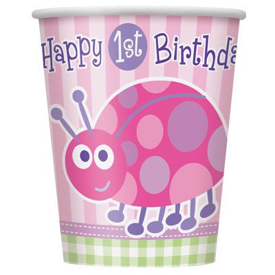 First Birthday LadyBug (pink) Cups