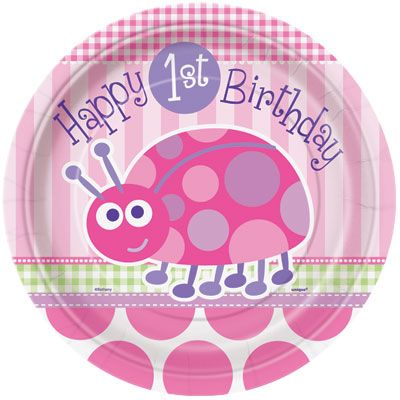 First Birthday LadyBug (pink) Plates