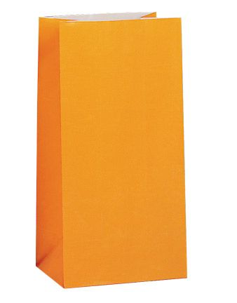 Paper Party Bags - Plain - Orange (Pack of 12)